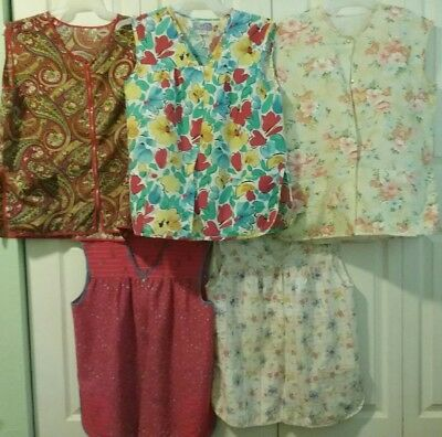 Lot of 5 Cobbler Sleeveless Smocks, Vintage to Current, Floral, Paisley, Lovely!