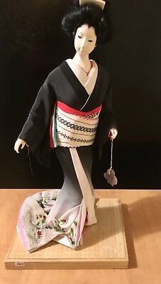 "17"" Vintage Collectible Porcelain Japanese Geisha Doll in Kimono w/Original Tag"