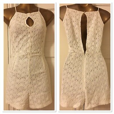 bd4f04ff3fe Ariana Grande for Lipsy White Daisy Lace Cut Out Playsuit Size 10 New RRP  £40