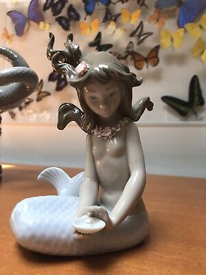 Lladro Spain Mermaid Mirage # 1415 Porcelain Painted Girl Fish Figurine