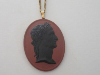 VINTAGE WEDGWOOD England Jasperware CAMEO GOLD FILLED Necklace