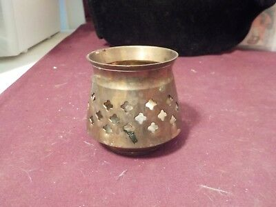 Pretty Brass Votive Candle Holder With Cross Cut Outs