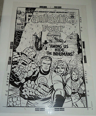 Inhumans Jack Kirby Fantastic Four N# 45 Cover Production Art Acetate