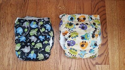 Lot of 2 Simplex All in One Cloth Diapers One Size OS  AIO