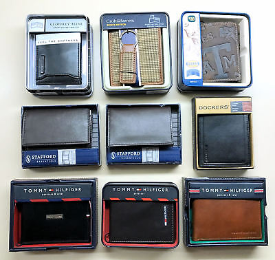 Wholesale LOT of 9 Men's leather wallets NAME BRAND various brands