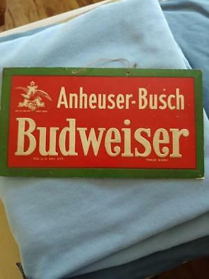 Early Original Anheuser-Busch Budweiser Embossed Cardboard Sign W/eagle-6X11!
