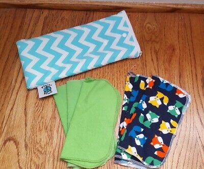 Planet Wise Wipe Pouch, Blue Chevron with wipes