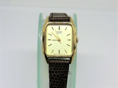 Vintage 2 Jewel Quartz SEIKO SGP Gold Plated Women Leather Watch New Battery