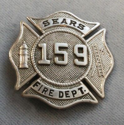 Rare 1920s Sears Roebuck Fire Department Great Obsolete Badge #159 Homan Campus