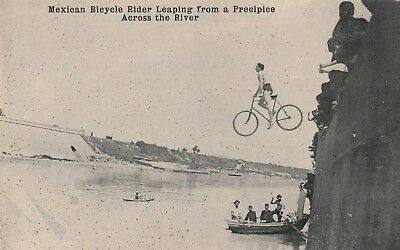 Unusual Mexican Bicycle Rider Leaping across River Chattanooga River TN