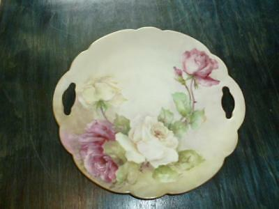 """Vintage Vienna Austria Hand Painted Cake Torte Handled 10"""" Plate Cabbage Roses"""