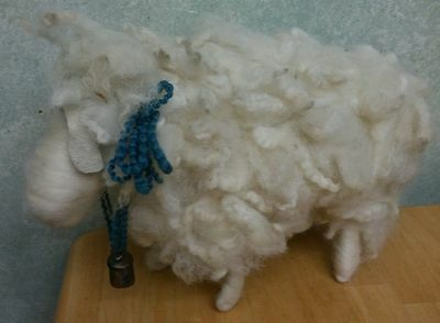 Primitive White Sheep Natural Wool Country Adorable with Bell