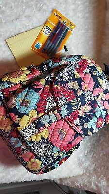 Vera Bradley Backpack EUC Navy witj Subdued Yellow, Blue, Red, Pink, and Cream