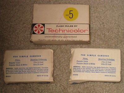 GE 5B and Techniloclor number 5 Flashbulbs 3 boxes total of 13 bulbs