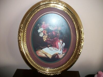 Home Interior Oval Picture Bible With Flowers, Gold Frame