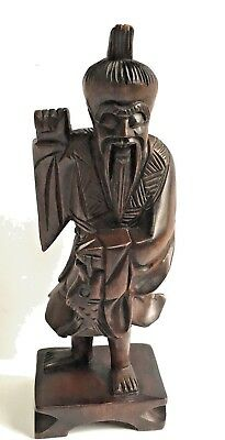 Asian Wood Carved Statue Figure Fish 10 Inches Tall Dark Brown Art Man Decor