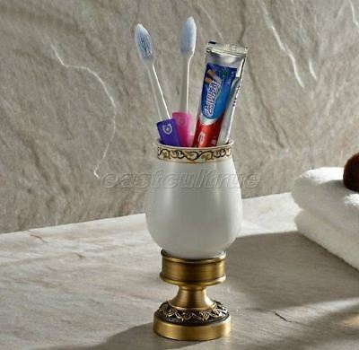 Bathroom Antique Brass Carved Free Standing Single Cup Toothbrush Holder eba498