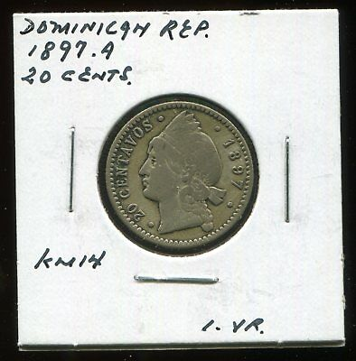 *** Dominican Republic 1897.a , 20 Cents Silver......one Yr. ***
