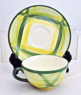Vintage Vernonware Gingham Cup and Saucer Green Yellow 1949-1958