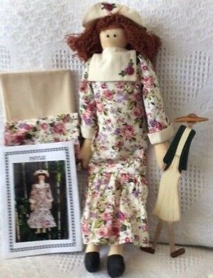 Handmade Cloth Doll plus Pattern, Craft Sewing Quilting Fabric & Painted Doll.