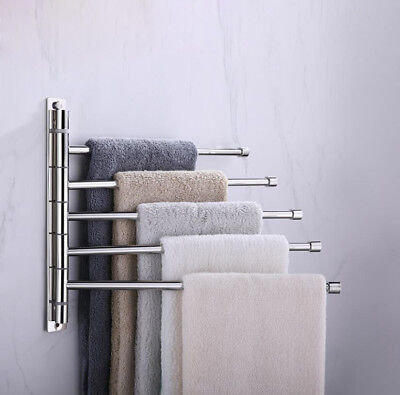 Bathroom Towel Rail Holder Swivel Rack Bars Wall Hanger Shelf SUS 304 Chrome M14