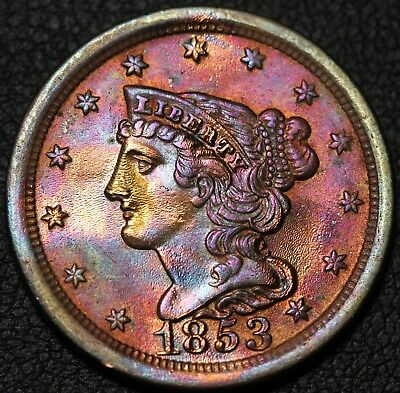 1853 Braided Hair Copper Half Cent - Toning! - Cleaned