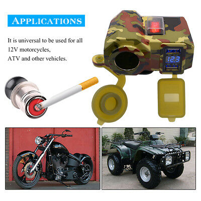 12V Motorbike ATV Dual USB Cigarette Lighter Waterproof Power Socket Charger Kit