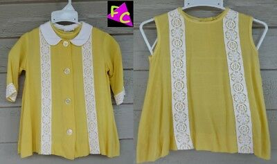 VTG 60s 70s 2T 3T YELLOW dress JACKET set TODDLER SUNDRESS BACK BUTTON girls DAY