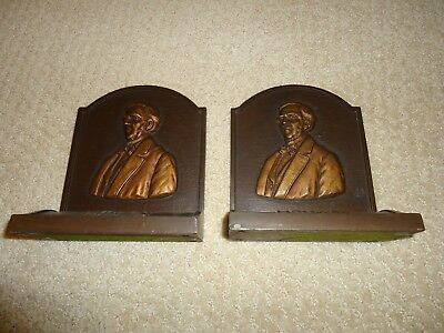 CAST IRON BOOK ENDS OLIVER W HOLMES BRONZE FLASHED   Est EARLY 1900s 6.5 POUNDS