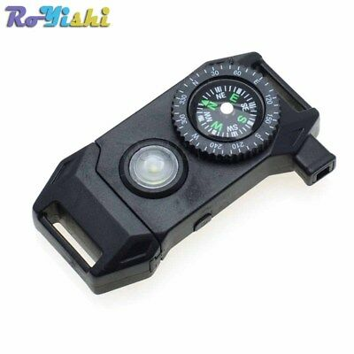 "11/16""Compass Whistle Buckle Release LED Light SOS Flash Scraper Paracord"
