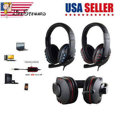 3.5mm Surround Stereo Gaming Headset Headband Headphone + Mic for PC Phone PS4