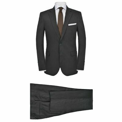 vidaXL Men's 2 Piece Linen Suit Size 50 Dark Grey Formal Casual Blazer Pants