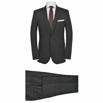 vidaXL Men's 2 Piece Linen Suit Size 48 Dark Grey Formal Casual Blazer Pants