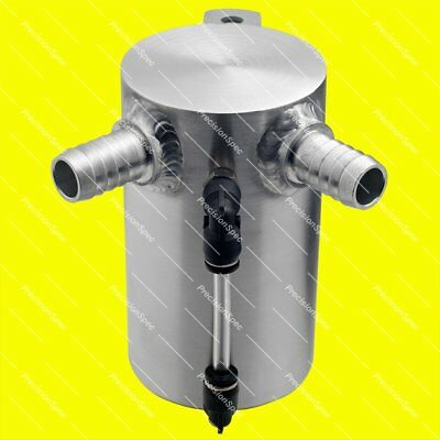 """0.5L Baffled Brushed Aluminium Oil Catch Can With 19mm 3/4"""" Inlets + Drain Plug"""