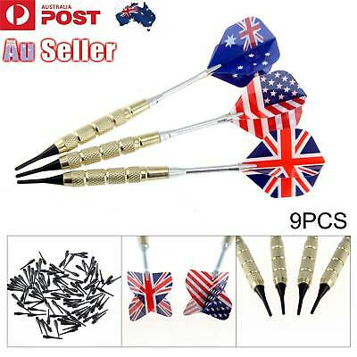 9 X Steel Tip Nice Carving Darts Aluminium Shaft Chrome-plated Brass with Flight
