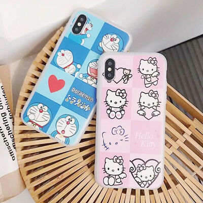 Cartoon Hellokitty Doraemon Silicone Phone Case Cover For iPhone X 8 7 6/6s Plus
