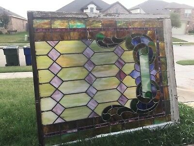 """Antique Victorian Stained Glass Window 52"""" X 49"""" From Whitesboro, Tx Church"""