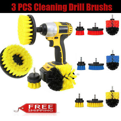 3 Pcs Cleaning Drill Brush for Car Carpet Bath Floor Tile Grout Power Scrubber
