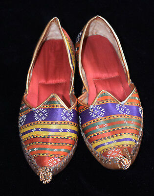 Ethnic Hand Made Vintage Leather Arabian Khussa Girls Shoes Slippers From 1969