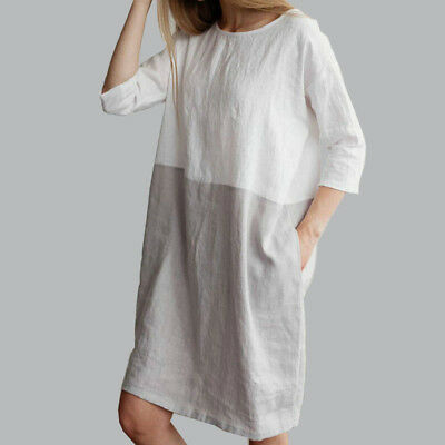 AU Baggy Womens Casual Short Sleeve Dresses Cotton Linen Ladies Tunic Tops Dress