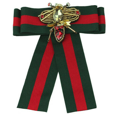 Women's Red Green Stripes Design Bow Tie Brooch Ribbon Striped Collar Dragonfly