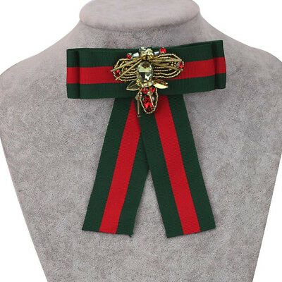 Women's Red Green Stripes Design Bow Tie Brooch Ribbon Collar Dragonfly US Stock