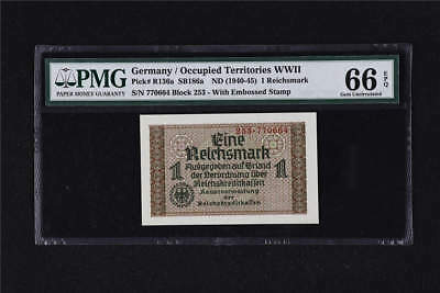 1940 Germany Occupied Territories WWII 1 Reichsmark Pick#R136a PMG 66EPQ Gem UNC