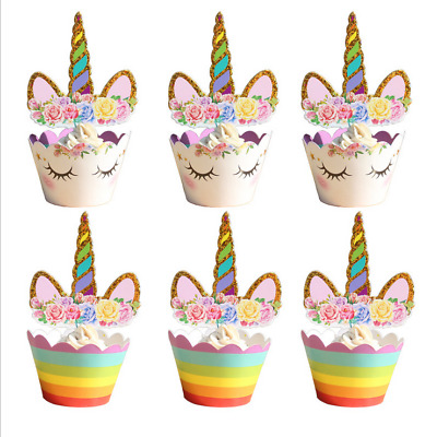 Unicoren Gold Horn Ears Flower Edible Large Stand For Cakes Image Topper EL