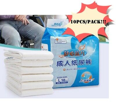 10PCS/Pack Adult Large Disposable HEAVY ABSORBENCY Ultra Diapers Brief Diaper