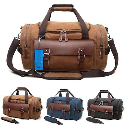 CrossLandy Men's Vintage Canvas Duffle Bag Gym Sports Travel Tote Luggage Bag