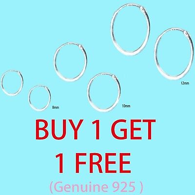 Mini Hoop Earring Sterling Silver 925 1mm x 8 / 10/ 12 / 14 / 16 Small