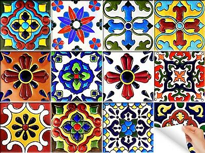Set of 24 TILE DECALS Mexican wall ceramic Stickers bathroom Kitchens decor H122