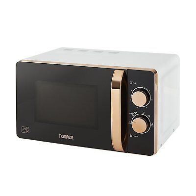 Tower T24020W Manual 6 Power Setting Solo Microwave 800W 20L - White & Rose Gold