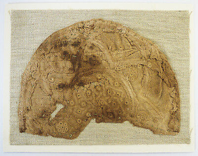 13-15C Antique Textile Fragment - Crest